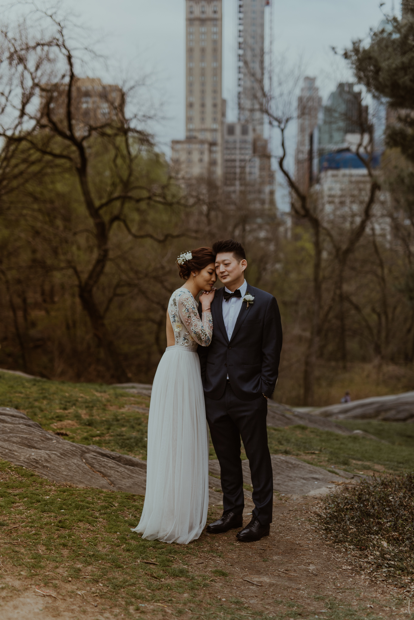 Central Park first kiss of bride and groom eloping in NYC