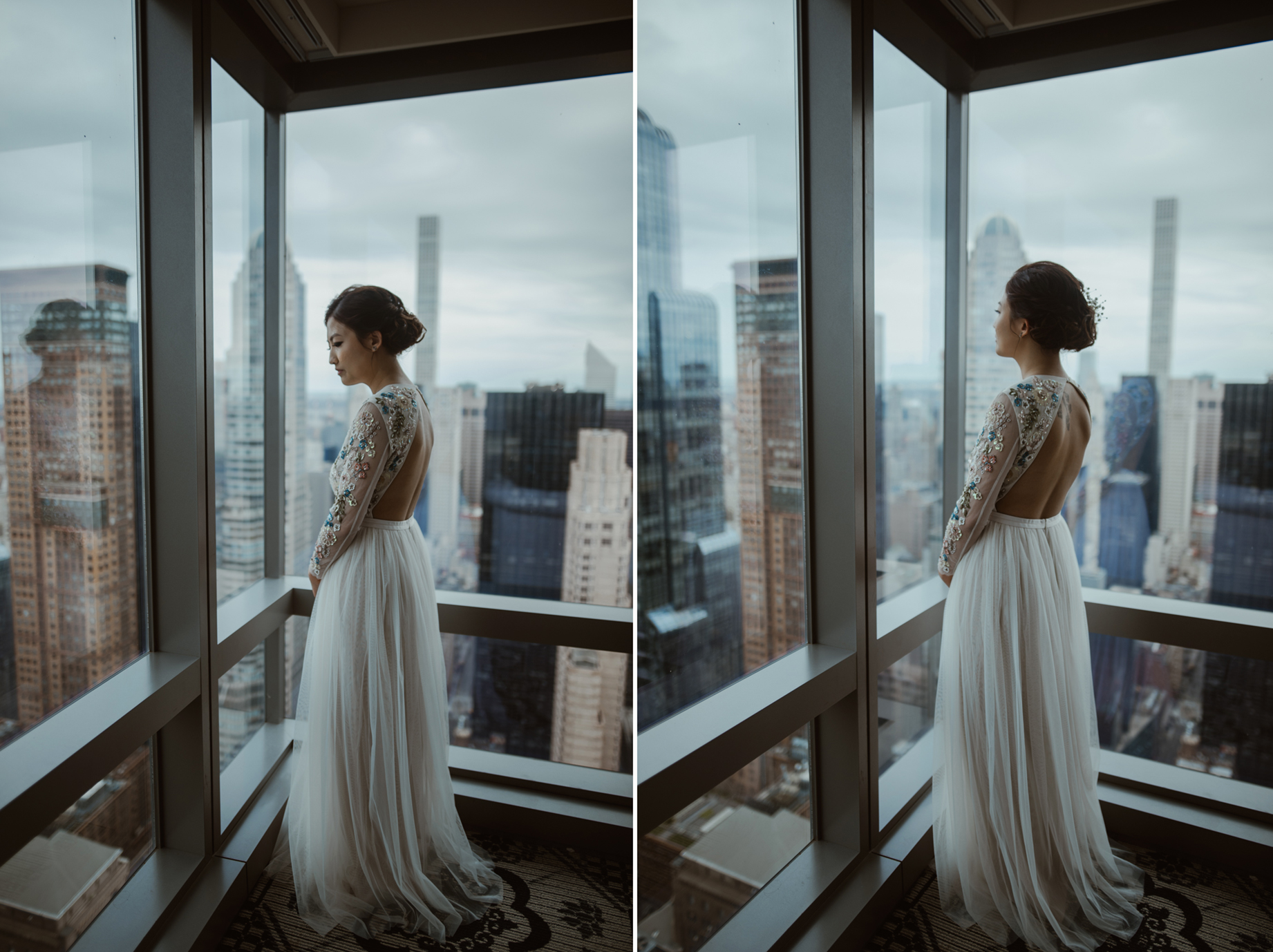 NYC Elopement Bride getting ready Needle & Thread London Dress